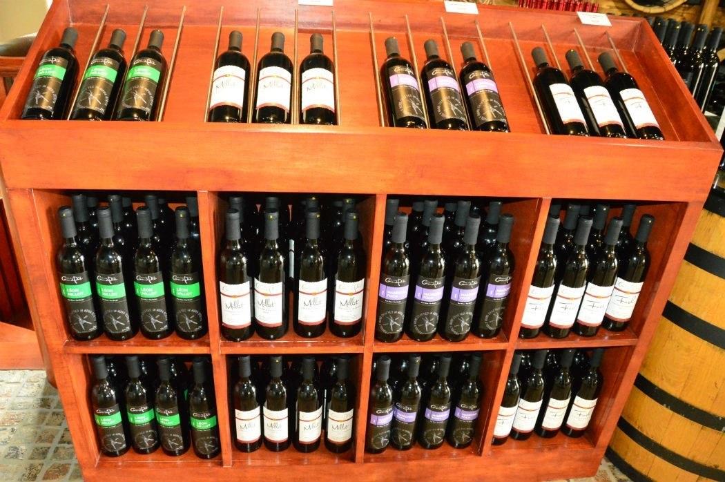 mutiple bottles of wine merchandised and on display