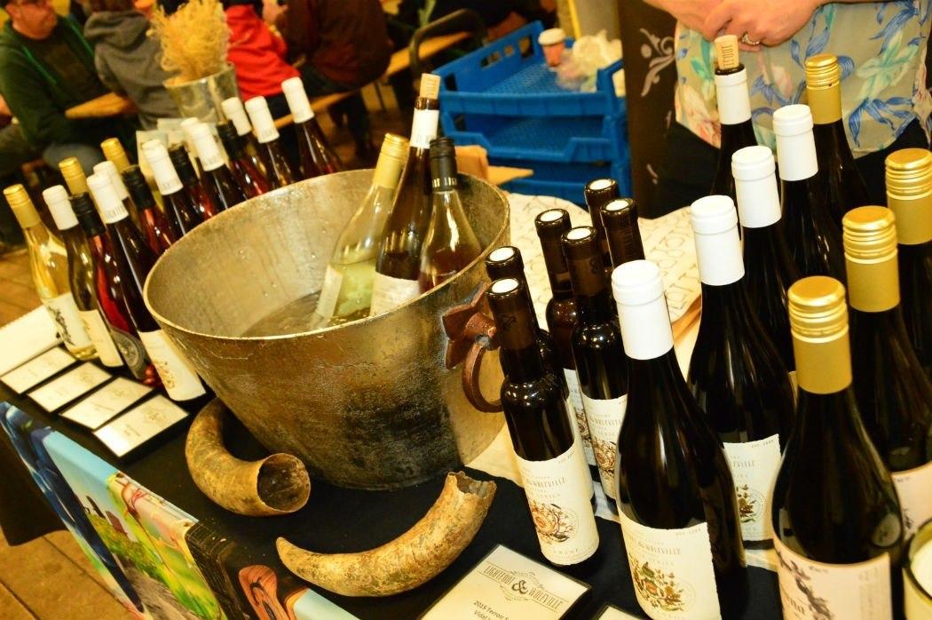bottles of wine on display at halifax seaport farmers market