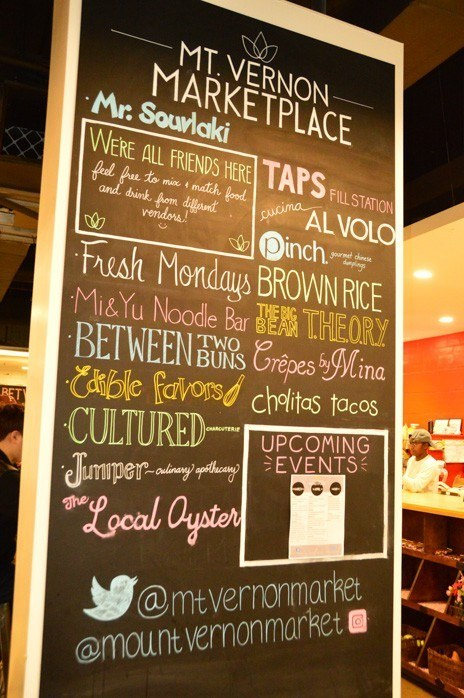 chalk board with food options at Mt Vernon marketplace