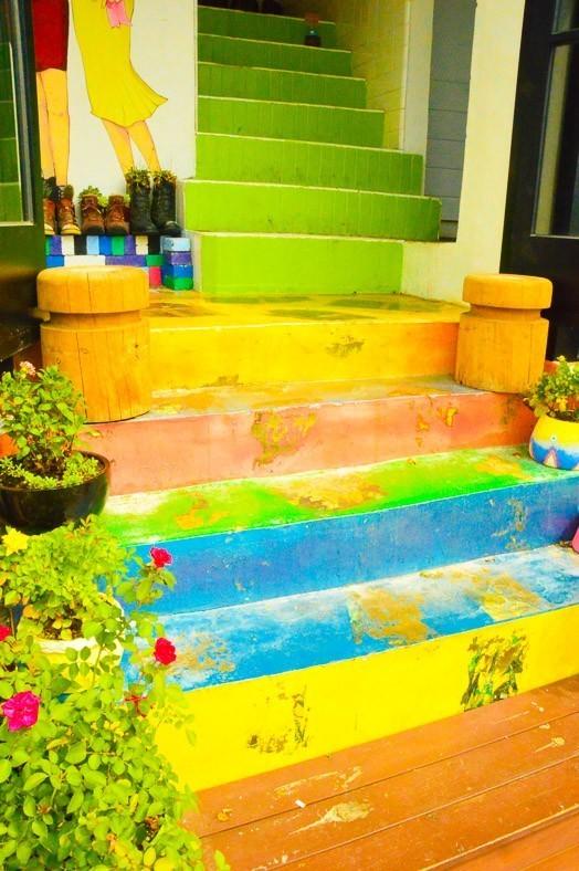 colourful steps in the mural art village jeonju korea