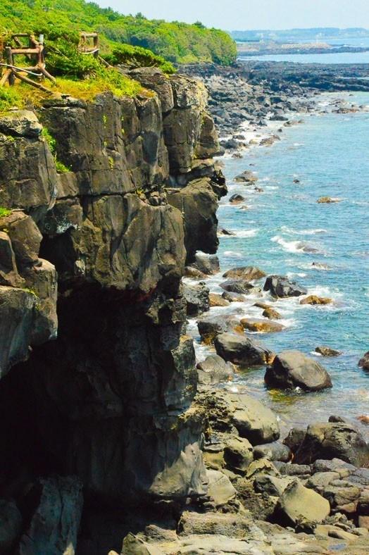 rocky coast line of Jeju island korea