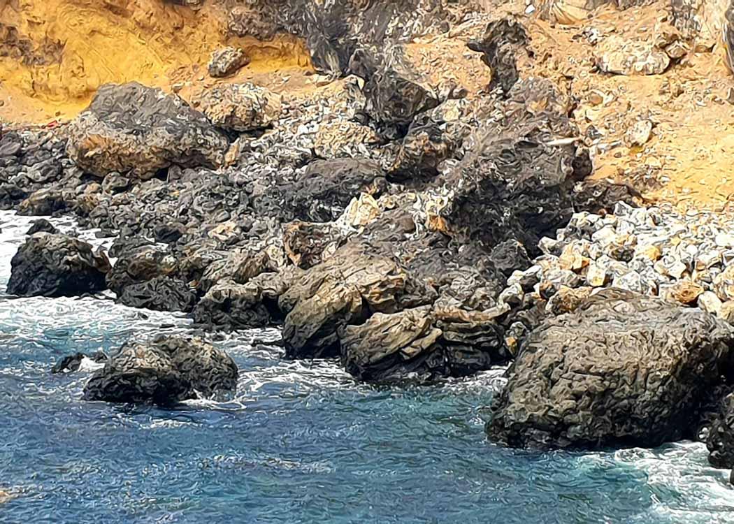 Close up of rocks and the sea in Las Palmas Gran Canaria
