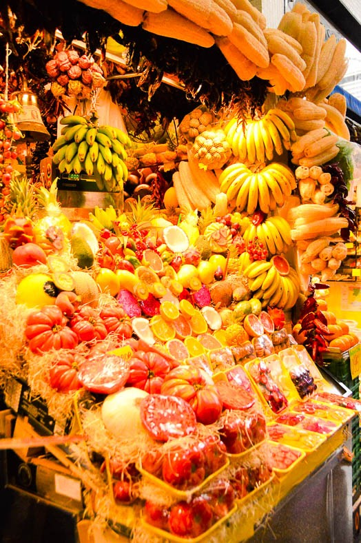 colourful market fruits on display in Gran Canaria