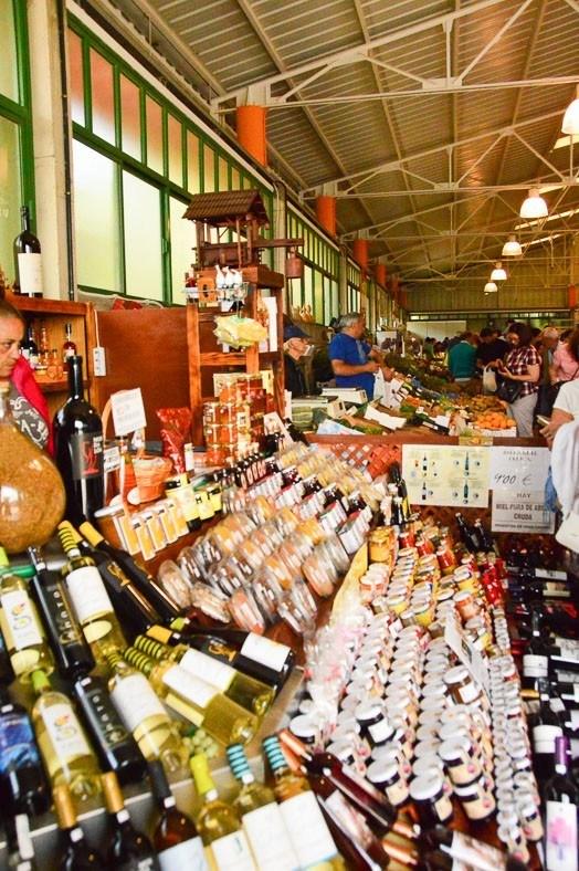 Wines on display at a gran canaria market
