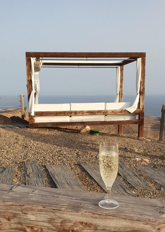 Gran Canaria Salobre Resort sun bed and glass of cava