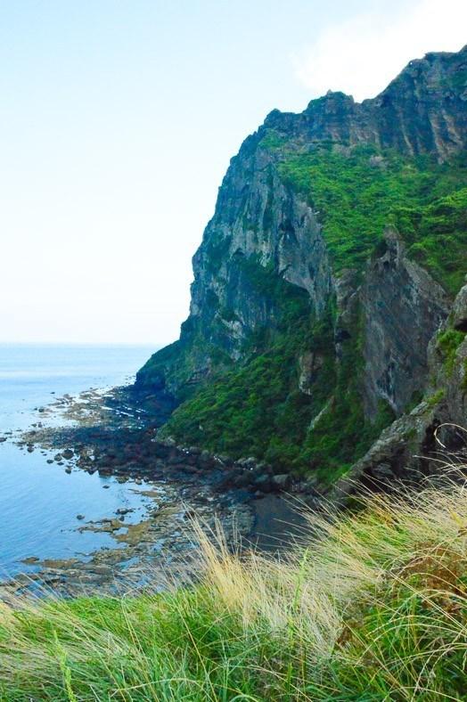 the coast line on jeju island