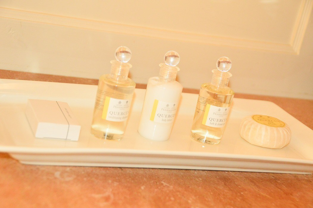 penhaligons products in hotel bathroom