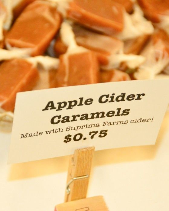 display of apple cider caramels