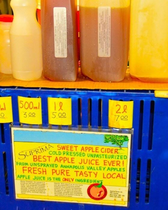 Display of apple cider and apple juice