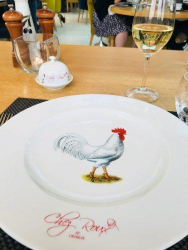 white plate with rooster at Chez Roux Cromlix House scotland