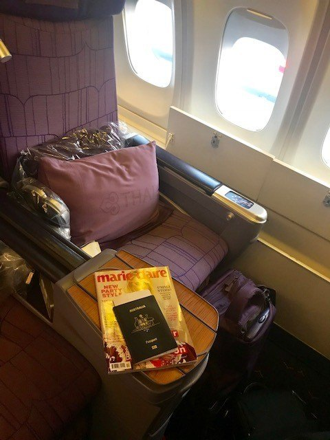Thai airways business class seat on the boeing 747