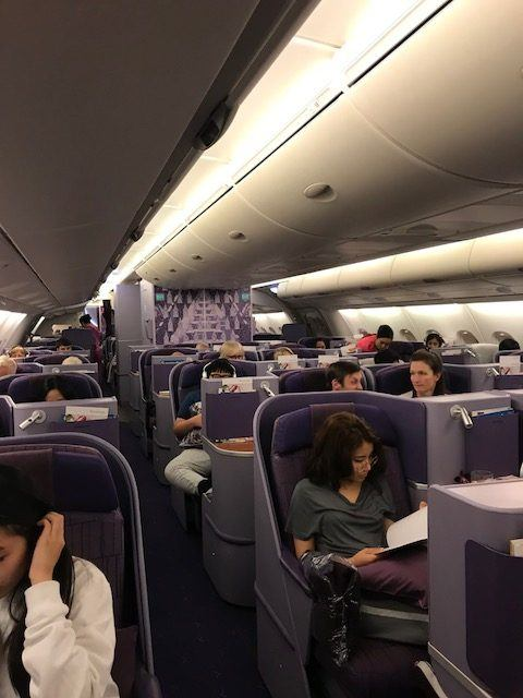 thai airways review business class section on a380 bangkok to london