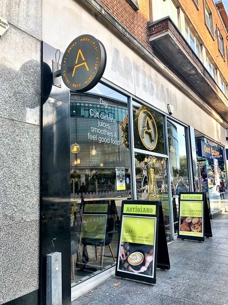 Exterior of Artigiano Cafe Exeter