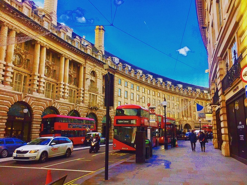 Regent Street in London with red buses