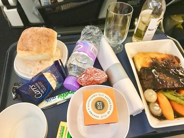 british airways world traveller plus main meal