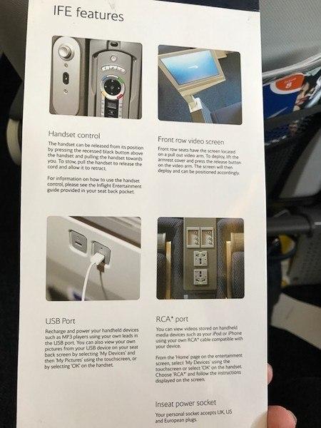 british airways world traveller plus in flight features list