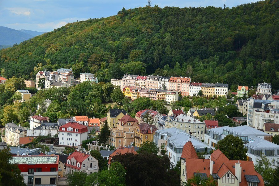 View over Karlovy Vary Czech Republic