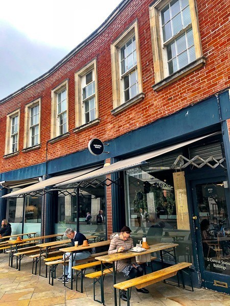 outdoor seating at The Exploding Bakery Exeter