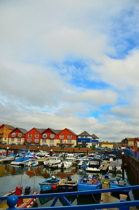 Boats and houses on Exmouth Harbour