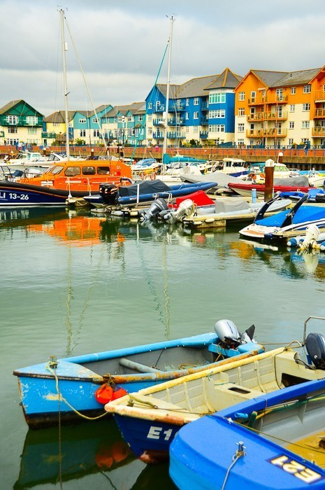 colourful houses and boats on exmouth harbour