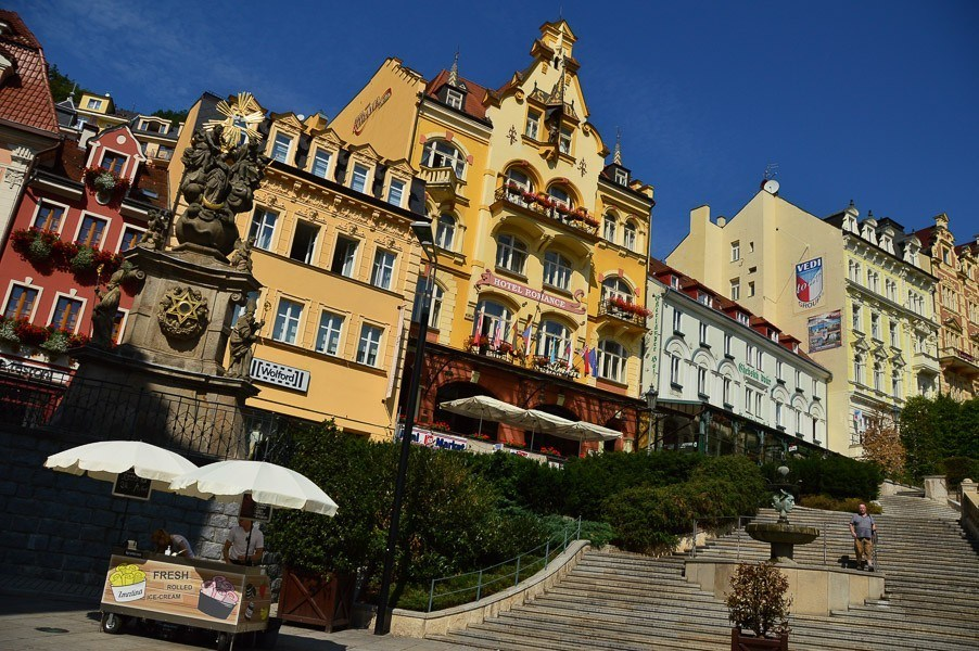 colourful buildings in karlovy vary and stairs