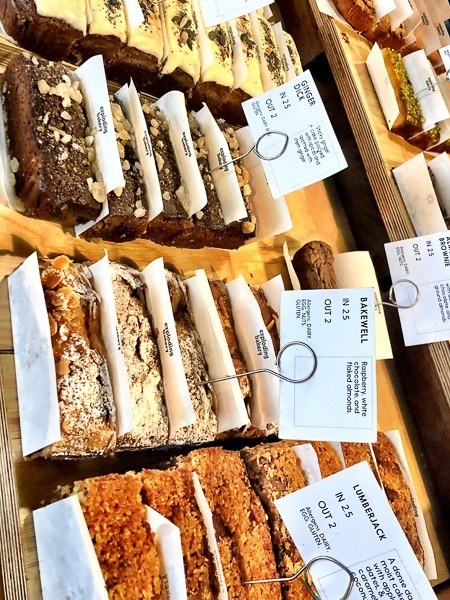 The Exploding Bakery tray bake Cakes on display