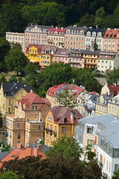 The colourful buildings of Karlovy Vary seen from the top of Hotel Imperial