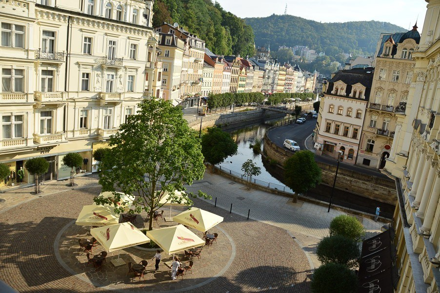The buildings and river in karlovy vary seen from hotel pupp