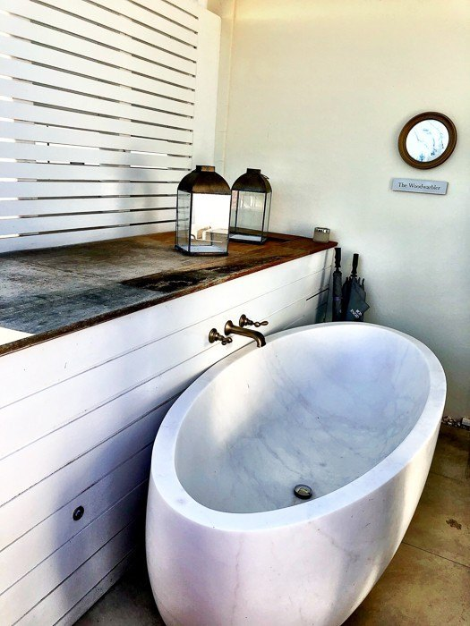outdoor bathtub at Lympstone Manor Exmouth