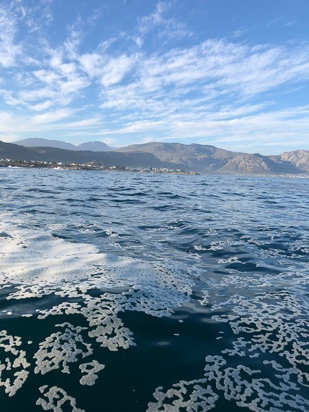 the sea with mountains around Hermanus