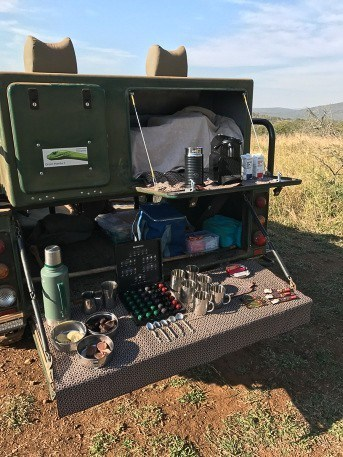 safari vehicle with coffee bar in the back