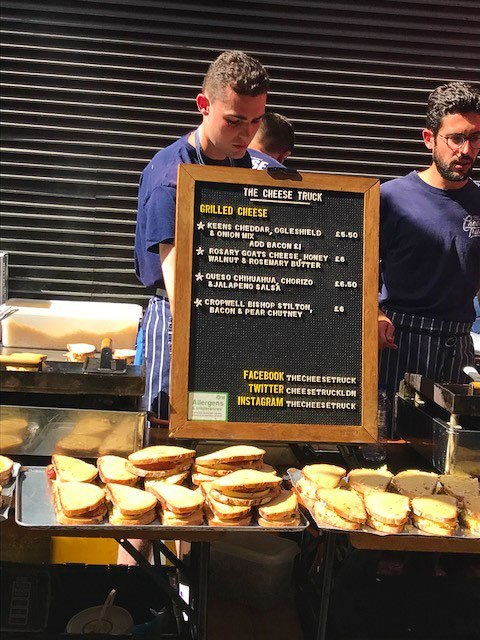 Toasted cheese sandwiches on display at maltby street market