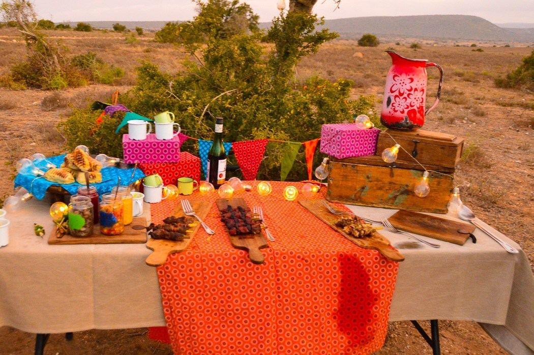table laid out with colourful cloths and food in the middle of the african vista