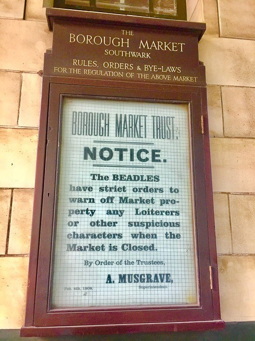 borough market sign from the borough market trust