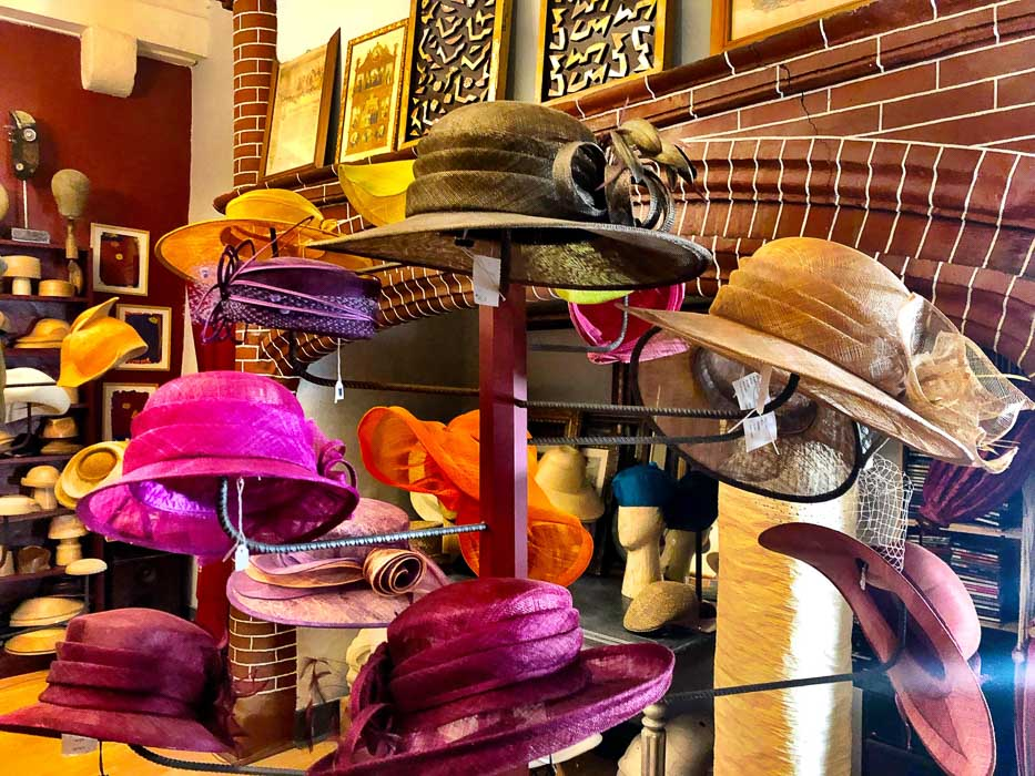Hats on display in Hats Block La Forest Caussade