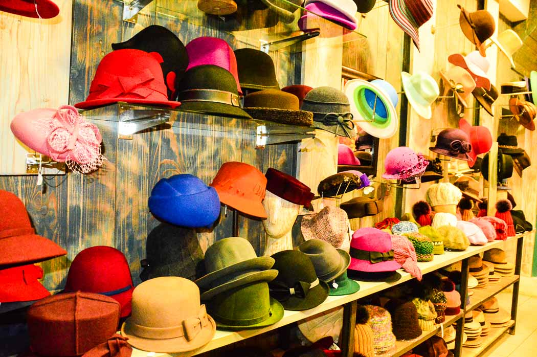 colourful hats display in Hat Blocks La Forest Caussade
