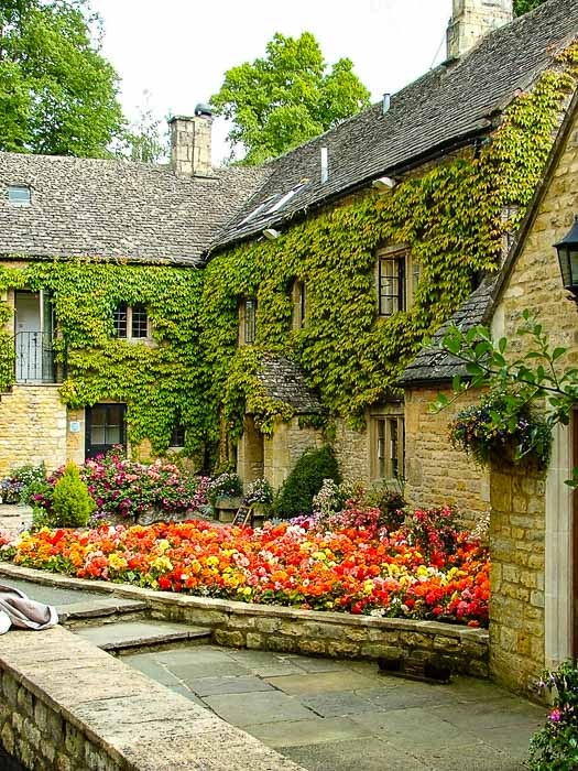 building with flowers in Lower Slaughter