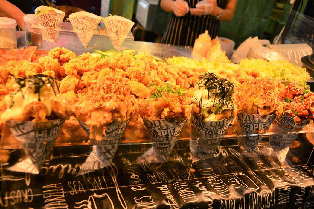 Korean Fried Chicken on display in a street vendor stall