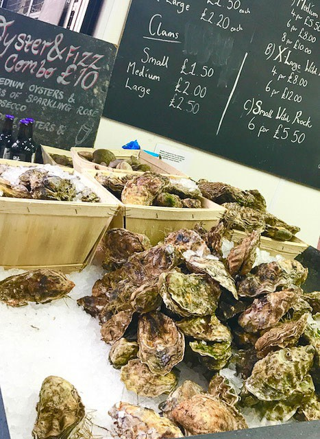 oysters and blackboard menu at borough market