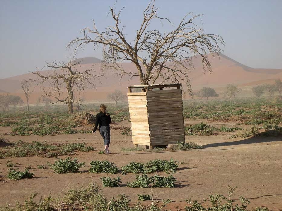 woman and small hut with tree in namibia