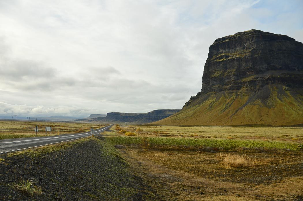the landscape of iceland as seen from the car