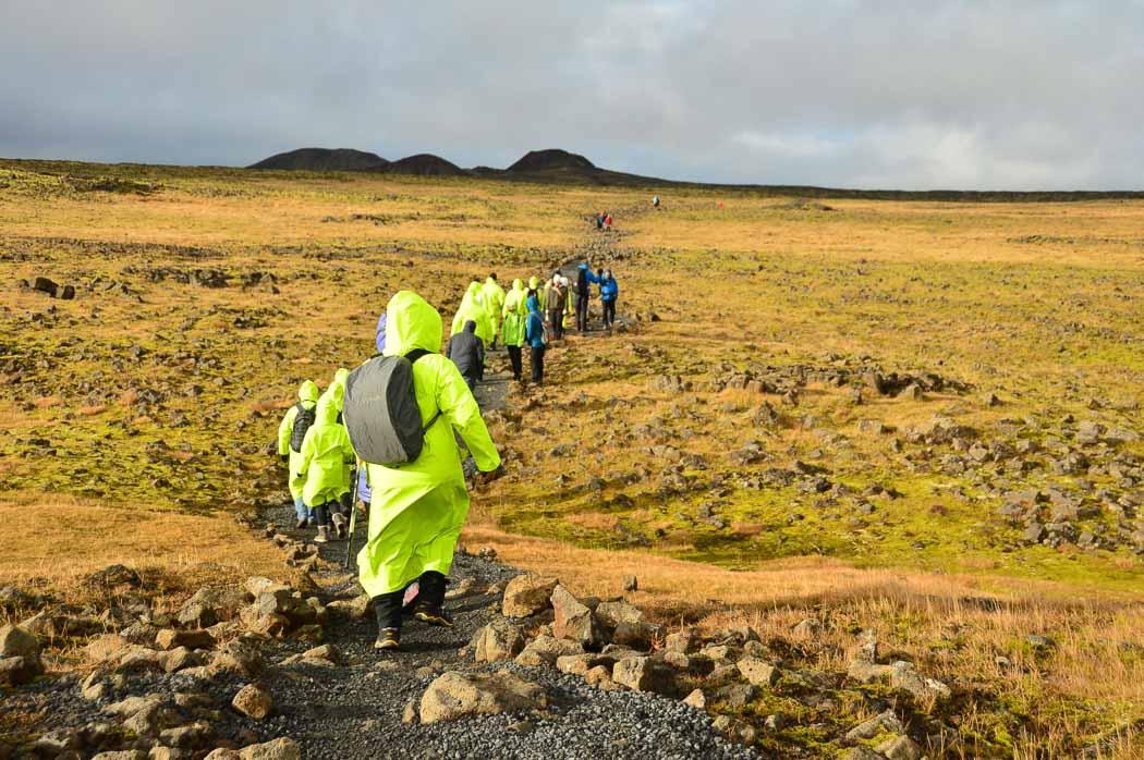 walking to Thrihnukagigur Volcano Iceland