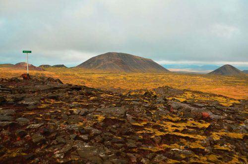 lava fields on the walk to Thrihnukagigur Volcano