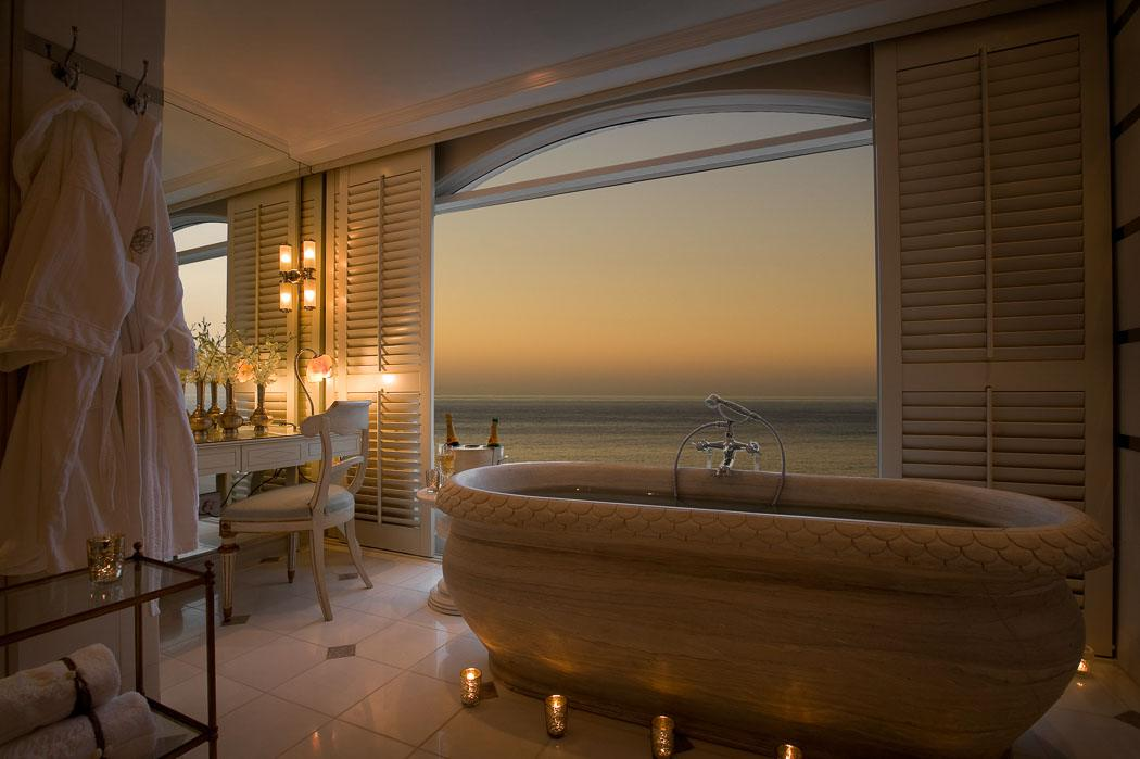 sunset in a bathroom at the oyster box hotel Durban South Africa