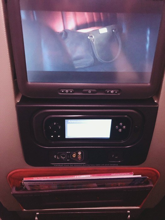 in seat entertainment system on premium economy seats on virgin atlantic