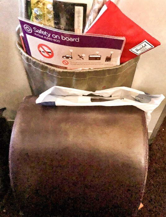 seat back pocket and brochures and foot rest