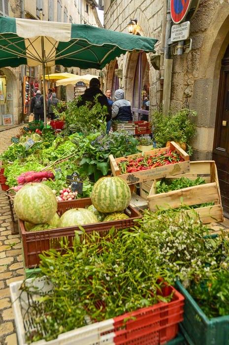 Fresh produce on display in Saint Antonin Noble Val