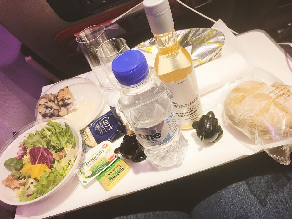 virgin atlantic premium economy meal tray