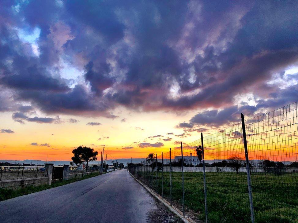 road at sunset in Savelletri Puglia