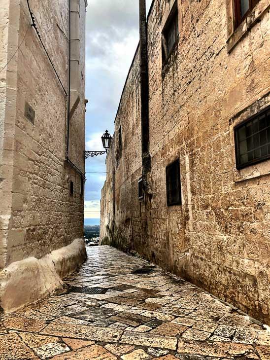 stone paved backstreet of Ostuni